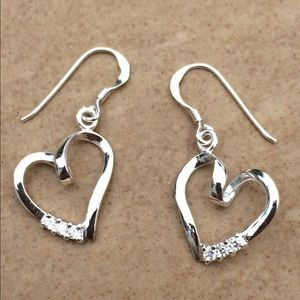 Sterling Silver 925 Cubic Zirconia Heart Earrings